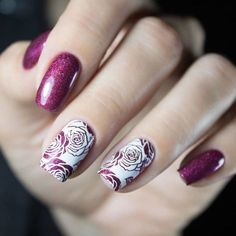 Beautiful rose floral nails from @lemann_i. Using #bornpretty Flower theme stamping plate BP-L024(I
