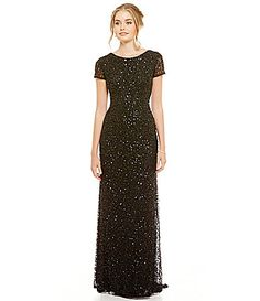 This is the one.....  I hope it's as pretty on as it is in the picture!  The mother of the bride has to look pretty too.    -Adrianna Papell ShortSleeve Sequined Long Skirt Gown #Dillards