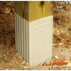Post Protector (Actual: x x Decay Protection Tan Wood Grain HDPE Post Sleeve at Lowe's. For 18 years, Post Protector has provided simple, slide-on barrier protection for in-ground posts. It works in conjunction with the chemical preservative Backyard Fences, Backyard Projects, Outdoor Projects, Backyard Landscaping, Backyard Ideas, Landscaping Edging, Garden Ideas, Deck With Pergola, Pergola Plans