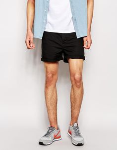 $33, Black Shorts: Asos Brand Chino Shorts In Skinny Fit Shorter Length. Sold by Asos. Click for more info: http://lookastic.com/men/shop_items/246542/redirect