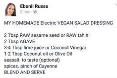 Salad dressing- Alkaline Vegan with Dr Sebi approved ingredients - Modern Alkaline Diet Plan, Alkaline Diet Recipes, Alkaline Breakfast, Diet Breakfast, Dr Sebi Recipes, Vegan Foods, Vegan Meals, Vegan Recipes, Raw Food Diet