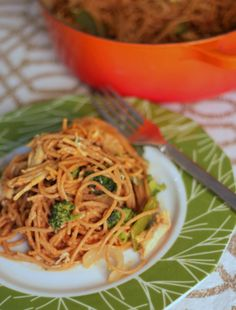 {Spicy Peanut Noodles with Veggies and Chicken }