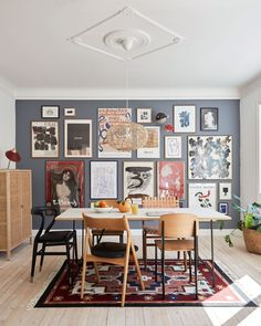 I the Danish interior magazine Bolig Magasinet's july issue you'll find . I the Danish interior magazine Bolig Magasinet's july issue yo Dining Room Walls, Dining Room Design, Interior Design Living Room, Living Room Decor, Danish Interior Design, Dining Room Picture Wall, Picture Walls, Danish Design, Room Chairs
