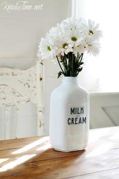 DIY Milk Bottle Flower Vase - via KnickofTime.net