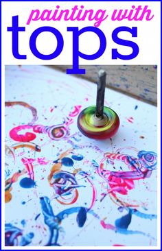 Painting with DIY spinning tops. Fun art project for kids.