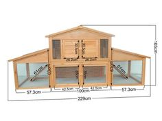 """AmazonSmile : Pawhut 91"""" Deluxe Large Wooden Bunny Rabbit Hutch / Chicken Coop w/ Large Outdoor Run : Pet Supplies"""