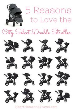 The City Select Double Stroller is perfect for the growing family! With 16 combinations, it's one of the most versatile strollers available! via /hearthometravel/
