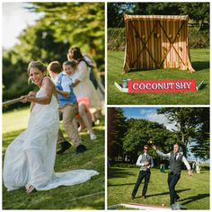 Great fun for wedding guests and fantastic photos with traditional games like Coconut Shies, Tug O War.  Hire from Box and Cox Vintage Hire in Cornwall. Cornish wedding, Cornwall wedding, lawn games, garden games