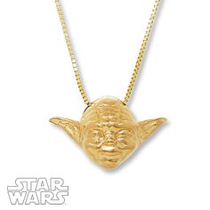 Stylish, this gold Yoda necklace is!