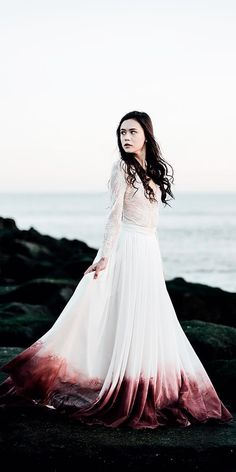 a line ombre separates lace colored wedding dresses with long sleeves sweet caroline Unusual Wedding Dresses, Alternative Wedding Dresses, Colored Wedding Dresses, Weird Wedding Dress, Dipped Wedding Dress, Ombre Wedding Dress, Pretty Dresses, Beautiful Dresses, Gothic Wedding