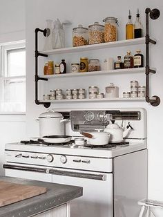 Mod Vintage Life: Industrial Pipe Shelving *Maybe we won't have to drill into the tile with shelves like this!
