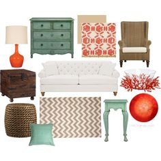 """""""Seafoam + Coral Living Room Inspiration"""" by klaughridge on Polyvore"""