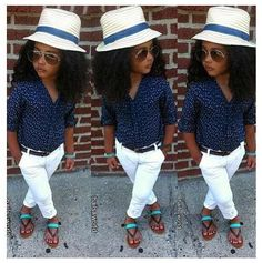 Little Girls fashion... Love the top and white jeans. But will they stay white with my kid?