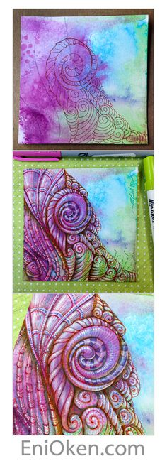 Learn how to create amazing Zentangle®️ over distressed tiles • enioken.com
