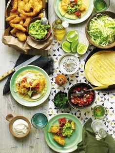 Fish Tacos with Pico de Gallo, Cabbage, and Lime Crema  This recipe for fresh, light fish tacos is great for a crowd; while you fry the fish, put your dining companions to work making the cabbage, pico de gallo, lime crema, and guacamole. Excerpted from My Father's Daughter: Delicious, Easy Recipes Celebrating Family & Togetherness by Gwyneth Paltrow.
