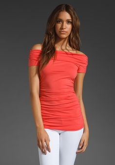 SUSANA MONACO Light Supplex Off The Shoulder Top in Fire Coral at Revolve Clothing - Free Shipping!