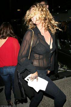 Rachel Hunter displays her bondage-style bra under see-through blouse Rachel Hunter, See Through Blouse, Sheer Blouse, Lesbian, Trotter, Bra, Morocco, Globe, Fashion Tips