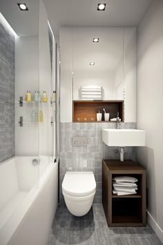 The layout of a small bathroom requires great ideas. Looking for small bathroom inspiration for you tiny house?Discover below examples to help you build a cozy small bathroom. Compact Bathroom, Narrow Bathroom, Tiny Bathrooms, Bathroom Design Small, Bathroom Layout, Basement Bathroom, Amazing Bathrooms, Bathroom Interior, Modern Bathroom