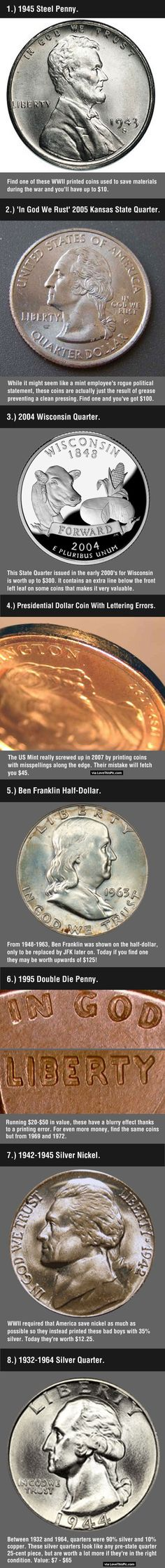 - These 8 Valuable Coins May Be Hiding In Your Change Note to self: Check all of my coins before turning them into cash or spending them. Old Coins, Rare Coins, Valuable Coins, Valuable Pennies, Rare Pennies, Coins Worth Money, Coin Worth, Coin Values, Little Bit