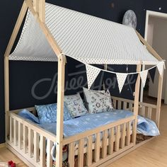House bed with fence roof and flag bunting ideas frame bed children bed & Toddler bed house bed tent bed children bed wooden house wood ...
