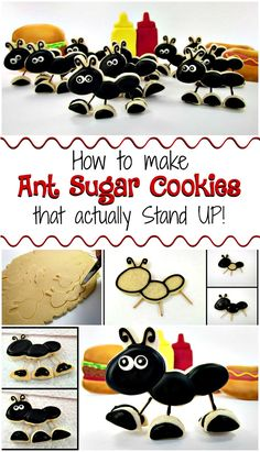 Every time we have a picnic little ants seem to know about it. I don't like ants, but ant cookies that stand up are a different story! Cookie Recipes For Kids, Cookies For Kids, Fun Cookies, Cupcake Cookies, Decorated Cookies, Cookie Tips, Cookie Favors, Baby Cookies, Heart Cookies