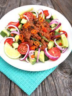 Auberginegryte med quinoa og linser