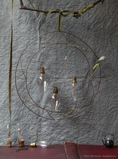 DIY Light Fixture from a wreath form