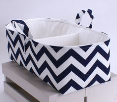 XL Long Diaper Caddy - Storage Bin Basket Container Organizer -Navy Chevron Fabric on Etsy, $52.00