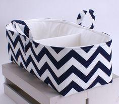 XL Long Diaper Caddy - Storage Bin Basket Container Organizer -Navy Chevron Fabric on Etsy, $52.00