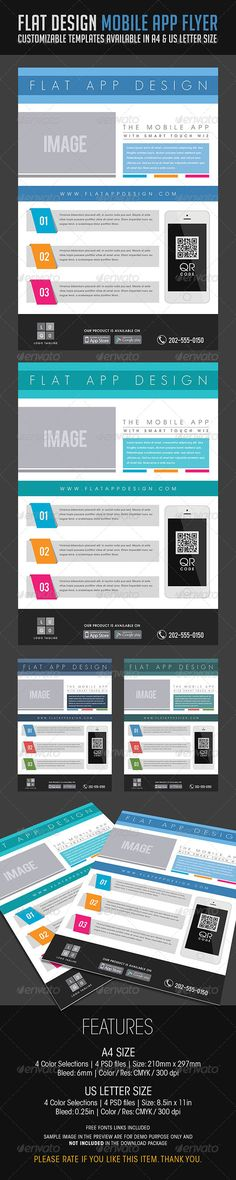 Flat Design Mobile App Flyer — Photoshop PSD #minimal #template • Available here → https://graphicriver.net/item/flat-design-mobile-app-flyer/6779582?ref=pxcr