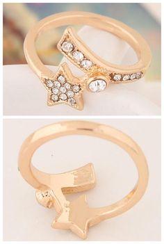 Rhinestone Embellished Lucky Star Korean Fashion Ring