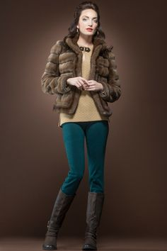 Zac Posen Sheared and Grooved Mink Fur Jacket