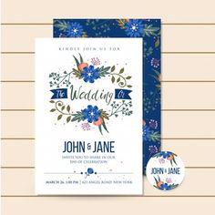 Ilustración floral hermosa invitación de boda azul de lujo