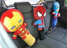 Kids Car Safety Strap Superhero Appease Pillow Cushion Shoulder Belt Plush Toy