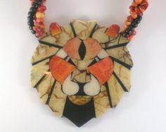 Lion Head Necklace - Lee  Sands  Beige Orange Black  Boho Hippie Statement