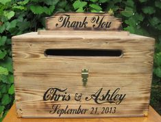 Large Rustic Wedding Card Box Keepsake Chest Cards Thank You Natural Personalized Custom Wood on Etsy, $85.00