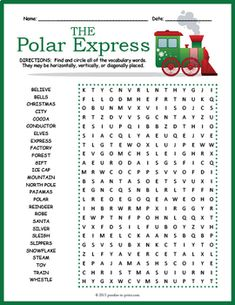 Polar Express Word Search by Puzzles to Print Polar Express Christmas Party, Christmas Party Activities, Polar Express Party, Christmas Party Games, Christmas Party Decorations, Holiday Games, Xmas Games, Holiday Parties, Holiday Crafts