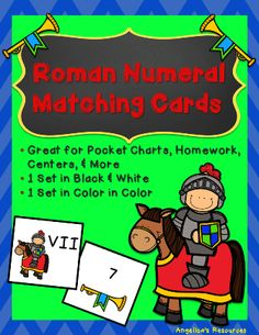 This product is an exciting addition to your math centers. This fun and exciting matching game will keep students excited while they learn their Roman Numerals. This set comes with 27 different Roman Numerals, the basics they will need to maneuver through the mastery of Roman Numerals. Answer key is included.