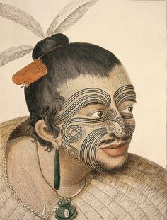Maori Chief, colored engraving (1784) from an original painting made by Sydney Parkinson in 1769 in New Zealand. Parkinson was artist with Captain Cook. This is the earliest image of a Maori and shows facial tattoo, jade tiki and earring, wooden comb, feather headdress, and flax cloak and is typical of descriptions made by Captain Cook and other explorers.
