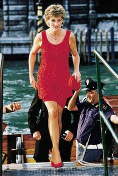 As the pressure to wear mainly British deisgners lifted off of Diana's shoulders, she dabbled with new names such as Jacques Azagury. The Occasion: On a trip to Venice, 1995.