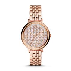 FOSSIL   Hand Stainless Steel Watch - Rose   A flawless essential, our refined Jacqueline puts an optic spin on a ladylike classic with a new mosaic dial. A signature steel case couples with a polished five-link bracelet in this elegantly essential design.