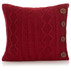 George Home Red Knitted Button Cushion | Cushions & Throws | ASDA direct