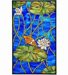 67795m - 22.25W X 37.75H Koi Pond Lily Stained Glass Window