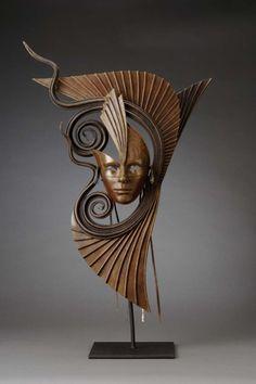 Concept Modeling For Metallic Sculpture : – Picture : – Description Bronze Mask [artist? Sculpture Textile, Sculpture Metal, Metal Art, Wood Art, Sculptures Céramiques, Modelos 3d, Leather Mask, Masks Art, Mask Design
