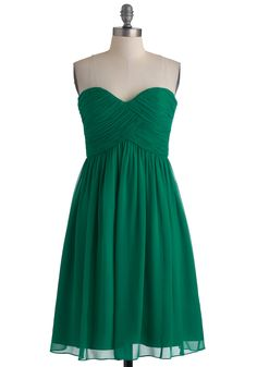Vert-ing with the Idea Dress - Green, Solid, Wedding, Party, Empire, Strapless, Ruching, Long, Top Rated
