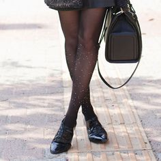 Polka Dot Tights Outfit by Tie Bow-Tie - TrendyLegs Sheer Tights, Opaque Tights, Black Tights, Colored Tights, Patterned Tights, Fashion Tights, Tights Outfit, Polka Dot Tights, Polka Dots