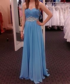 Sky blue, flowy prom dress #prom