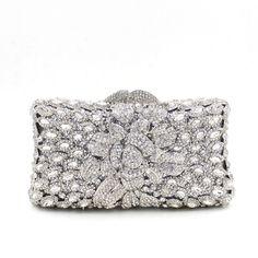 New Silver Rhinestone Hardware Box Clutch For Bridal Wedding Purses