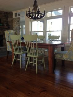 Farmhouse table w painted chairs