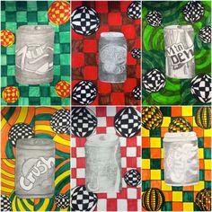 Exploring Art: Elementary Art: Grade Soda Can Op Art Op Art Lessons, Art Lessons Elementary, Upper Elementary, Pop Can Art, Pop Art, Sharpie Art, Sharpie Projects, Sharpie Doodles, Contrast Art